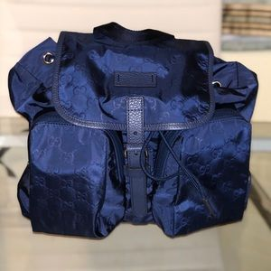 Gucci blue nylon backpack